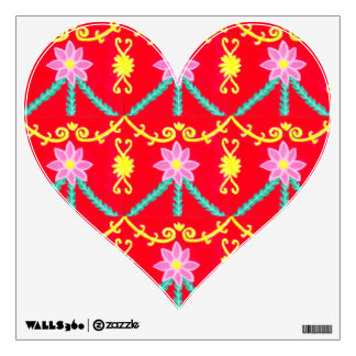 Red and Yellow Floral Tile Pattern Wall Decal