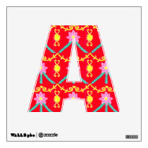 Red and Yellow Floral Tile Pattern Wall Sticker