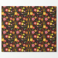 Red and Yellow Floral Vector Beauty Wrapping Paper (<em>$22.15</em>)