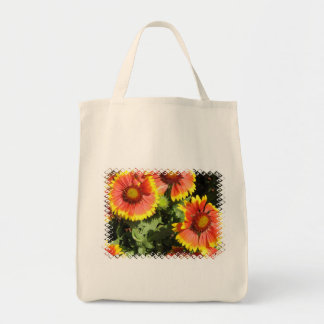 Red and Yellow Flowers Grocery Tote Bag