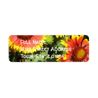 Red and Yellow Flowers Mailing Label Return Address Label