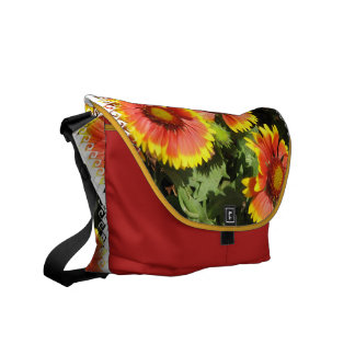 Red and Yellow Flowers Messenger Bag