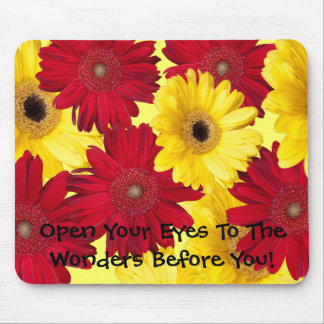 Red and Yellow Gerber Close Up Photographs Mouse Pad