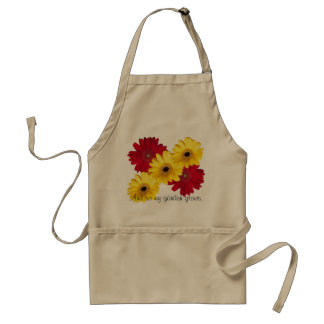 Red and Yellow Gerber Daisy Close Up Photographs Adult Apron