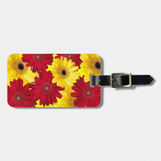Red and Yellow Gerber Daisy Photograph Tags For Luggage