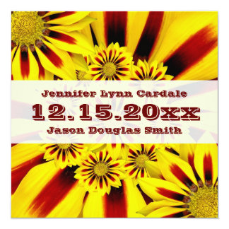 Red and Yellow Gerbera Daisies Wedding Invitations
