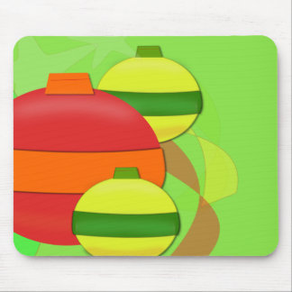 Red and Yellow Glass Bulb Christmas Tree Ornament Mouse Pad
