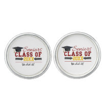 Red and Yellow Graduation Gear Cufflinks