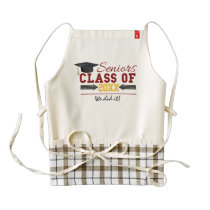 Red and Yellow Graduation Gear Zazzle HEART Apron