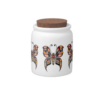 Red and Yellow Haida Spirit Butterfly Candy Jar