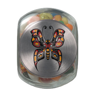 Red and Yellow Haida Spirit Butterfly Glass Candy Jar
