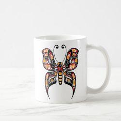 Red and Yellow Haida Spirit Butterfly Coffee Coffee Mug