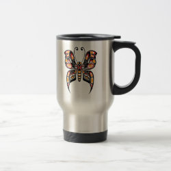 Red and Yellow Haida Spirit Butterfly Travel Coffee Mug
