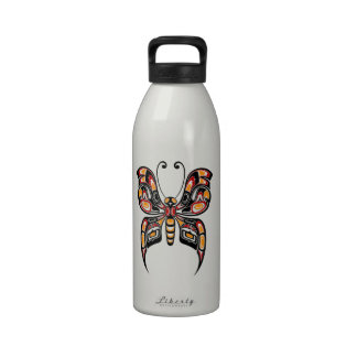 Red and Yellow Haida Spirit Butterfly Water Bottle