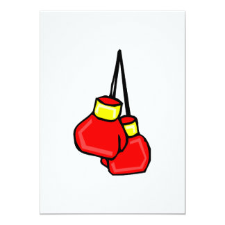 red and yellow hanging boxing gloves 5x7 paper invitation card