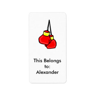 red and yellow hanging boxing gloves label