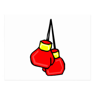red and yellow hanging boxing gloves postcard