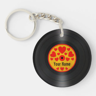 Red and Yellow Hearts Personalized Vinyl Record Keychain
