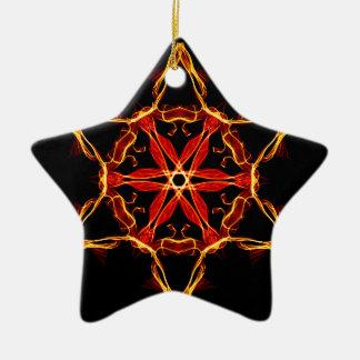 Red And Yellow Hexagram Ceramic Ornament