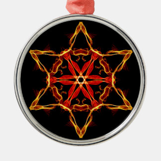 Red And Yellow Hexagram Metal Ornament