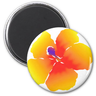 Red and Yellow Hibiscus Bloom 2 Inch Round Magnet