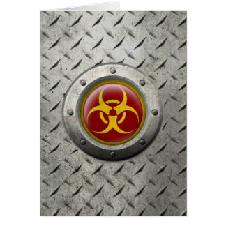 Red and Yellow Industrial Biohazard Steel Effect Greeting Card