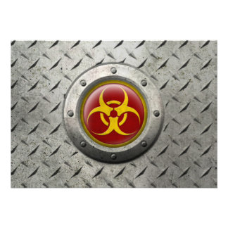 Red and Yellow Industrial Biohazard Steel Effect Personalized Announcements