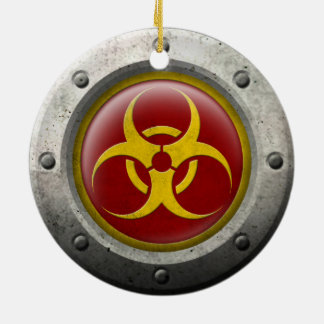 Red and Yellow Industrial Biohazard Steel Effect Christmas Tree Ornaments