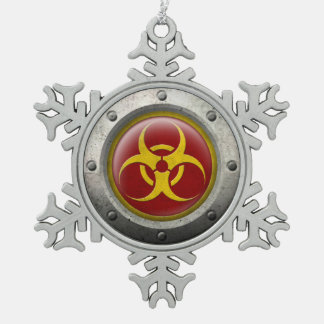 Red and Yellow Industrial Biohazard Steel Effect Ornament