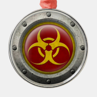 Red and Yellow Industrial Biohazard Steel Effect Ornaments