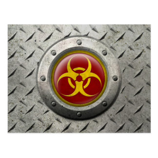 Red and Yellow Industrial Biohazard Steel Effect Postcard