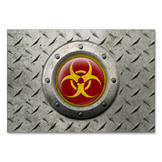Red and Yellow Industrial Biohazard Steel Effect Table Cards
