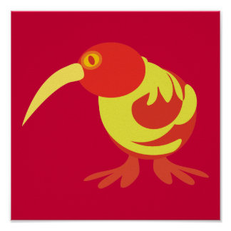 Red and yellow Kiwi Poster