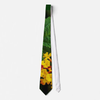 Red and Yellow Lantana Flower and Green Leaves Tie