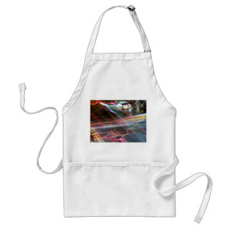 Red And Yellow Lights On The Street Adult Apron