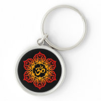 Red and Yellow Lotus Flower Om on Black Keychains