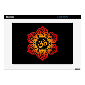 Red and Yellow Lotus Flower Om on Black Laptop Decals