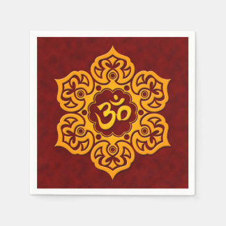 Red and Yellow Lotus Flower Om Paper Napkin