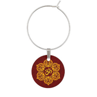 Red and Yellow Lotus Flower Om Wine Glass Charm