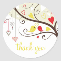 Red and Yellow Love Birds Thank You Sticker