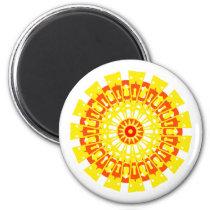 Red and Yellow Mandala Bright Sunburst Design Magnet