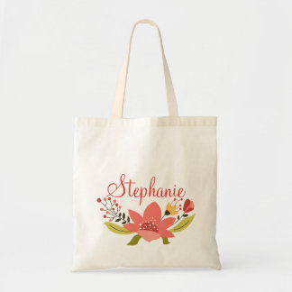 Red and Yellow Personalized Floral Wreath Tote Bag