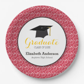 Red and Yellow Personalized Graduation 9 Inch Paper Plate  sc 1 st  Pretty Pattern Gifts & Personalized Paper Plates - Pretty Pattern Gifts