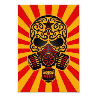 Red and Yellow Post Apocalyptic Sugar Skull Card