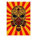 Red and Yellow Post Apocalyptic Sugar Skull Custom Announcements