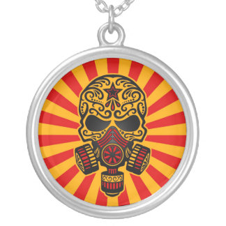 Red and Yellow Post Apocalyptic Sugar Skull Necklace