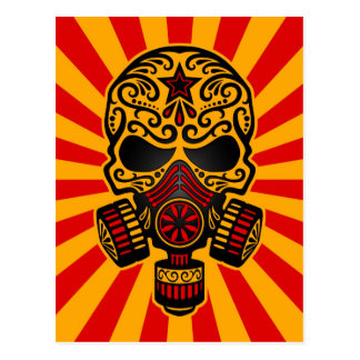 Red and Yellow Post Apocalyptic Sugar Skull Postcard