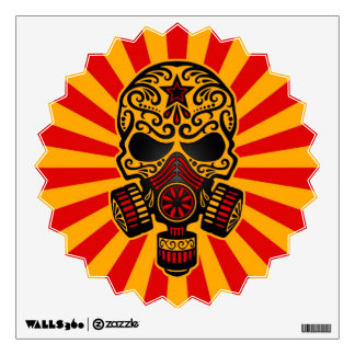 Red and Yellow Post Apocalyptic Sugar Skull Wall Decal