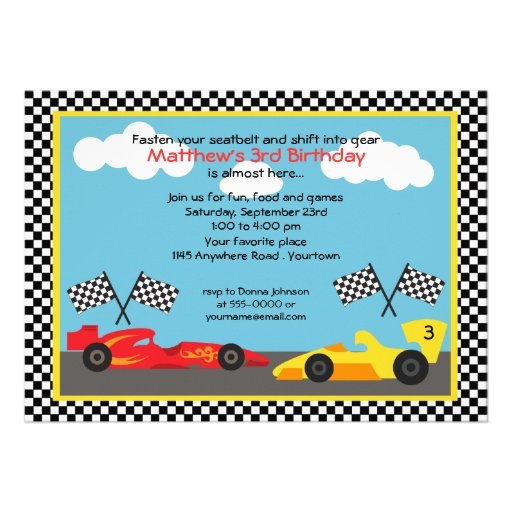 Personalized Racing car Invitations – Race Car Birthday Party Invitations