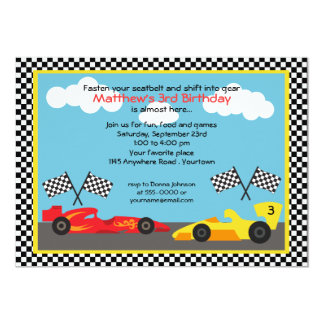 Red and Yellow Race Car Birthday Party 5x7 Paper Invitation Card